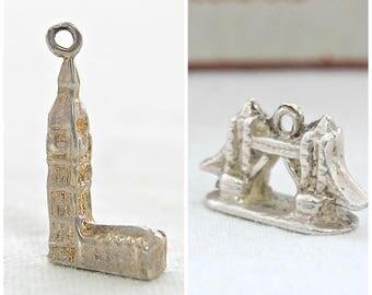 British VINTAGE Solid Sterling Silver Charms - Tower Bridge & Big Ben - London Souvenir Travel Charms