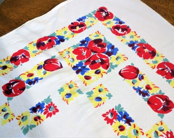 Retro Vintage Floral Tablecloth - Yellow - Red - White - Blue - Tulip Pattern - 48 x 50 - 1950's - 1940's - Cottage Chic Kitchen Tablecloth