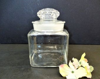 Vintage Glass Apothecary Jar - 4.5 inch - Square - Ground Glass Stopper - Thumbprint Lid - Kitchen Collectibles