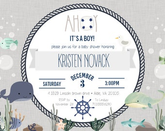 Nautical Baby Shower Invitation Digital File ONLY