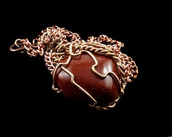 Red goldstone necklace - Goldstone heart pendant - Gemstone heart - Wire wrapped gemstone - Copper wrapped goldstone - Healing jewelry