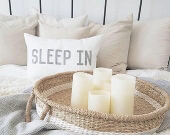 "sleep in pillow, word pillow, housewarming, bedroom pillow, throw pillow, new home gift - ""sleep in"""
