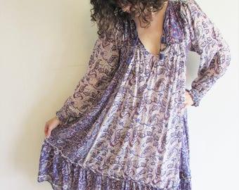 Amazing Vintage Super Craft 70s Purple Indian Gauze Cotton Hippy Boho Festival Small Dress