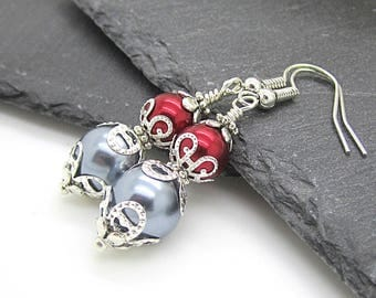 Grey and Burgundy Bridesmaid Earrings Mercury Bridesmaid Jewellery Pearl Drop Earrings Pewter Bridal Sets Bridal Party Gifts Red and Silver