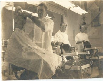 Original Vintage 40s Photograph Barber Shop Boy Getting his Hair Cut and 2 Other Barbers 4 x 5