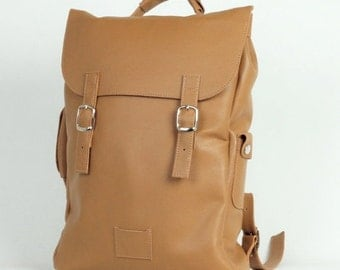 SALE! / Nude large leather backpack rucksack handmade/ In stock / Leather backpack / Leather rucksack / Unisex backpack / Gift