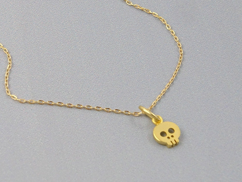 skull necklace delicate gold necklace dainty by crystalshadow