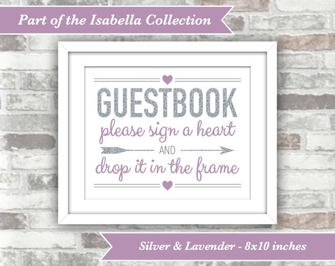 INSTANT DOWNLOAD - Isabella Collection - Printable Wedding Drop Top Heart Guestbook Guest Book Sign - 8x10 Digital Files - Silver Lavender