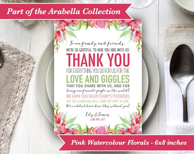 PRINTABLE Digital File - Personalised Wedding Thank You Sign Table Decor - Watercolour Pink Florals - Place Setting - DIY Print your own