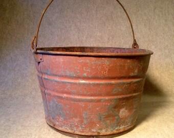 Vintage Galvanized Tub - Bucket - Old Farm Find with Old Repair Wood Bottom - Feed Grain Bucket