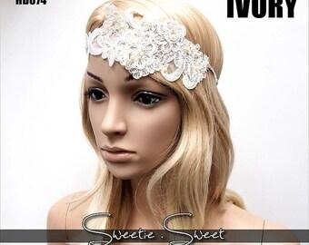 SALE Wedding headband, Lace Wedding headband, Flapper headband, Gatsby Headband, Great Gatsby Headpiece, Roaring 20s headpiece