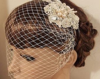 SALE Wedding headband, bridal headband, Rhinestone headband, Lace Wedding Headband, Wedding headpiece, Bridal headpiece, Birdcage veil
