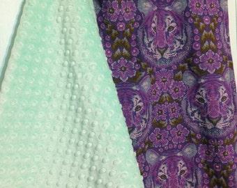 Baby Blanket - Tiger Blanket - Crib Blanket - Purple Tiger - Mint Blanket - Minky Blanket
