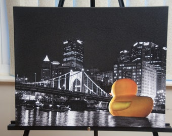 Pittsburgh Duck Photo, selective color HDR photo, black, white, and yellow, 16x20 Canvas photo print, Our Sentinel
