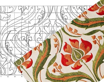 PRINTABLE ART NOUVEAU Floral Embroidery Pattern Hand Embroidery Sewing Pattern pdf and Jpg Images