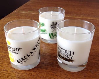 Set three vintage retro whiskey glasses created as scented soy candles