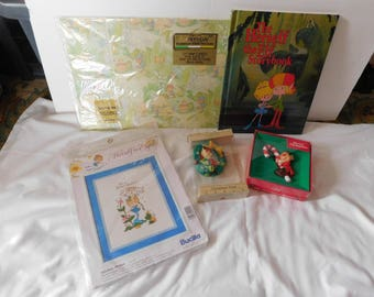 vintage HERSELF the elf and  HIMSELF the elf ornaments wrapping paper book more