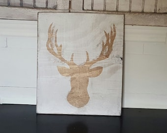 Vintage look and distressed Deer head sign/gold/wall decor