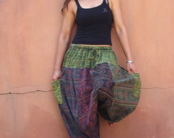 Harem  Pants ...Yoga Pants ..Leisure Pants ... Patchwork Stone Washed