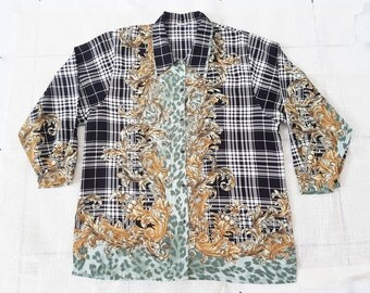 SALE !!Vintage Luxury shirt Baroque and versace style with over print over size Scott pattern