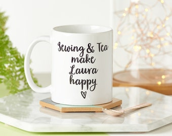 Crafts And Tea Make Me Happy Mug - Personalized Mug - Gift for Friend - Gift for Crafter - Leaving Gift - Gift for Her - Birthday Present