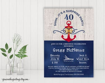 40th Surprise Birthday Party Invitation, Adult Birthday Invite, Nautical Birthday, Men's Birthday, 50th, 65th, 70th, 80th, 90th Celebration