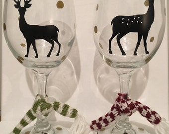 Set of Doe & Buck Wine Glasses