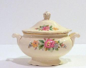 Homer Laughlin Virginia Rose Sugar Bowl Wildflower Motif Scallop Bottom Gold Rim Replacement China Shabby Chic Hostess Gift Vintage Wedding