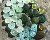 Drilled Genuine Sea Glass Beads, Genuine, Real, 8mm to 10mm, Beach Gypsy Soul, Tribal, Artisan, Vintage, Spacer, 22