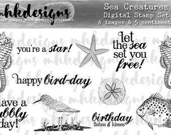 Sea Creatures Digital Stamp Set