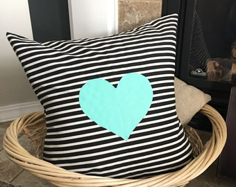 Mint Heart Decorative Pillow: throw pillows, home decor pillow, black and white,heart pillow, painted pillow, hand painted, delightful daze