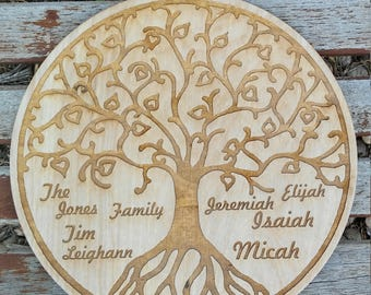Laser Engraved/Etched Family Tree on wood