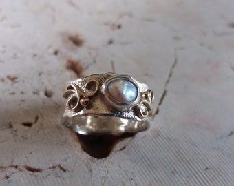 Handmade Silver And Gold Pearl Ring