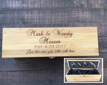 Wedding Gift Engraved Wine Box Bamboo Present