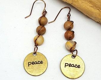 Jasper Hippie Peace Earrings - Jasper Earrings - Hippie Earrings - Peace Earrings