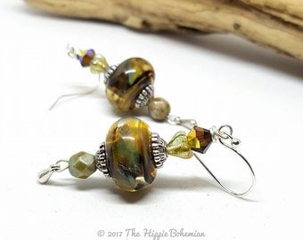 Olive Green Bohemian Earrings - Olive Green Earrings - Bohemian Earrings