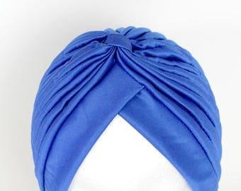 Serre-tête, Chapeau de mode, Royal Blue Turban, Chemo Hat, Hairloss Hat, Chemo Gift, Chemo Present, Front Twist Turban, Blue Turban Hat