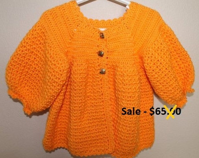Baby Sweater Coat - 12 to 18 Months - Orange Baby Sweater  - Handmade Crochet - Reduced - Clearance - Ready to Ship