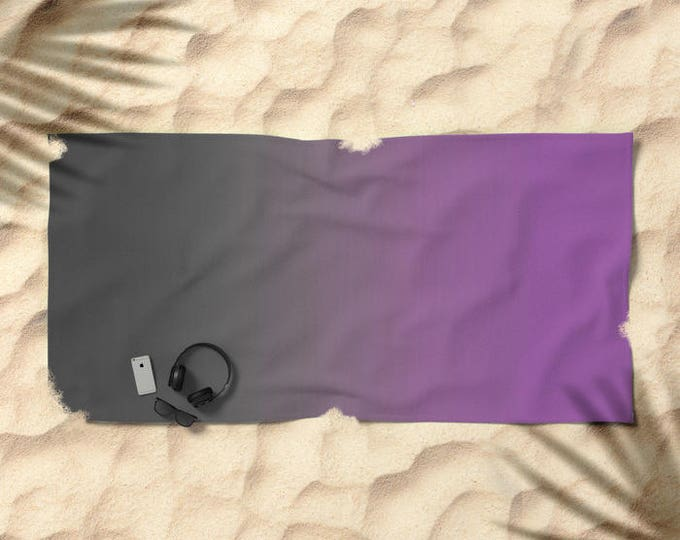 Beach Towel - Gray to Purple Ombre - Over-sized  - Pool Towel - Microfiber - Cotton Terry Cloth - Made to Order