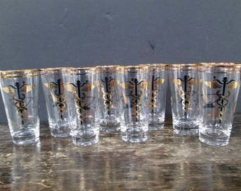8 Apothecary Pharmacy Drink Glasses