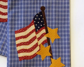 4th of July Kitchen Towel, Americana Towel, Applique Towel, Flag Towel, Hostess Gift