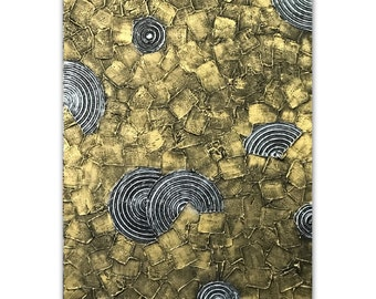 Modern Metallic Art, Silver Gold Sculpture on Canvas, wall art canvas, Home Office Wall decor, Texture Impasto Painting