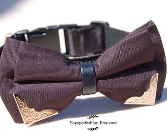 Modern black bow tie dog collar.Wedding dog collar.Pet party collar.dog wedding collar.pet collar, Birthday gift for dog,modern dog collar