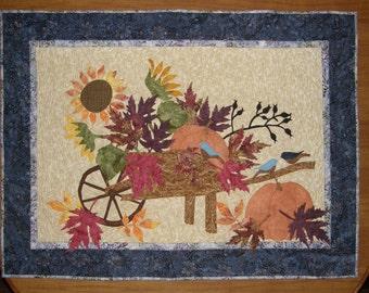 Art Quilt, Fall Fiber Art Quilt, Autumn Harvest Art Quilt, Pumpkin Sunflower Colorful Fall Leaves Quilted Art, Quiltsy Handmade