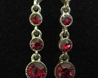 Vintage Monet Red Rhinestone Dangling Earrings