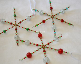 Beaded red and green Christmas snowflakes, set of 3, set 1