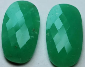 50 Carats,Matched Pair,Natural Chrysoprase Faceted Slice Cabochons 100% Natural Loose stone,32mm