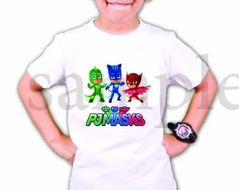 INSTANT DL- Pj Masks  Iron on Transfer ,Birthday pj masks T Shirt  digital file - you print- (non personalized)
