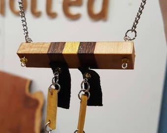 Oak, rosewood, yellowheart. Necklace and Earrings