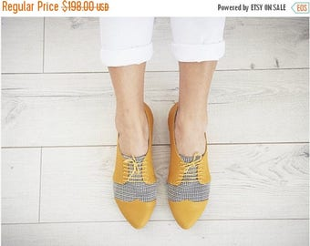 BIRTHDAY SALE Yellow Pepita oxford leather shoes / Polly Jean flat leather women shoes
